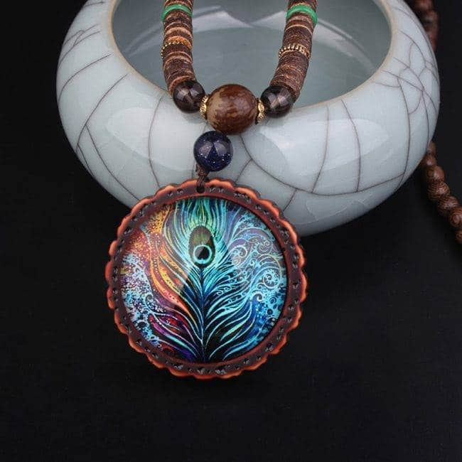 Collier ethnique plumes de paon Bijoux pierre naturelle Collier pierre naturelle